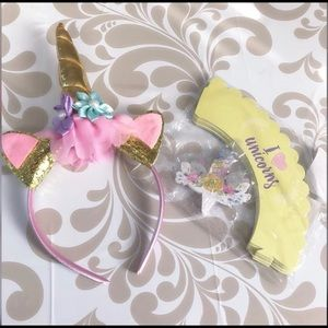 Other - 🦄Unicorn headband + cupcake toppers